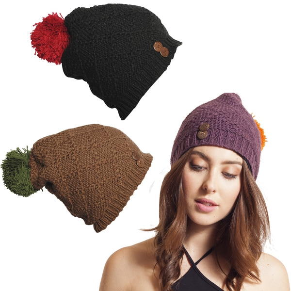 Diamond Knit Slouchy Beanie with Pom Pom (Nepal)