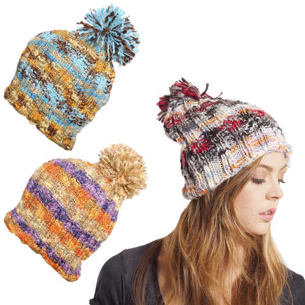 Fun Colorblend Strip Hemp Blend Beanie with Pom Pom (Nepal)