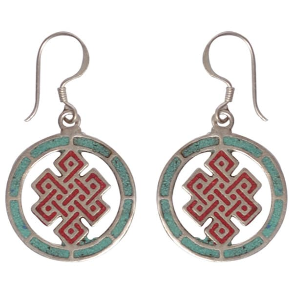 Infinity Knot Turquoise Coral Earrings (Nepal)