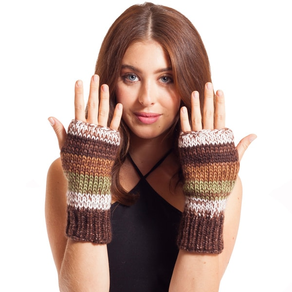 Women's Winter Classic Mohair Wool/ AcrylicKnit Glittens Fingerless Gloves (Nepal)