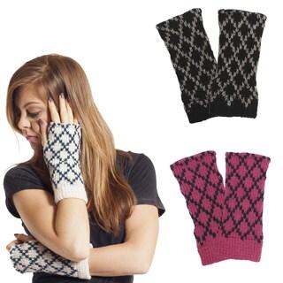 Women's Winter Classic Wool Knit Glittens Fingerless Gloves (Nepal)
