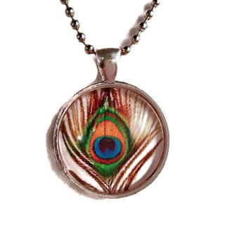 Atkinson Creations Peacock Feather Glass Dome Pendant Necklace