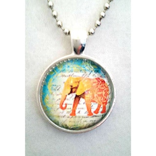 Atkinson Creations Orange Elephant with Teal Background Glass Dome Pendant Necklace
