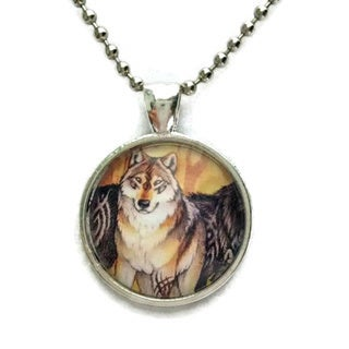Atkinson Creations Tribal Wolf Native American Spirit Symbol Glass Dome Necklace