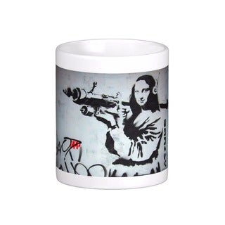 Banksy Art 'Mona Lisa With Bazooka Rocket' Coffee Mug