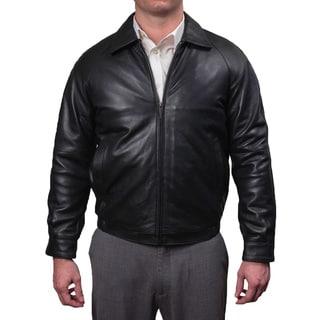 Perry Ellis Men's Lamb Skin Leather Zip Front Bomber Jacket