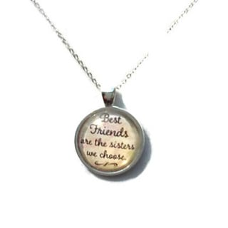 Atkinson Creations 'Best Friends Are The Sisters We Choose' Glass Dome Pendant Necklace
