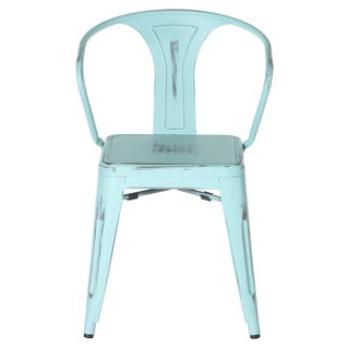 PoliVaz Metal Tolix-style Arm Chair, Antique Vintage Blue