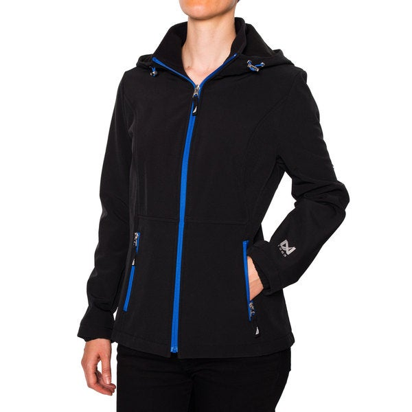 Nautica Women's Soft Shell Zip Front Hooded Jacket