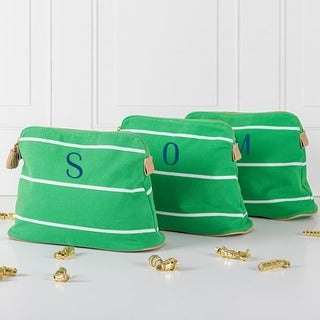 Personalized Green Striped Cosmetic Bag