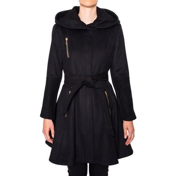 Laundry Women's Belted Fit And Flare Wool Coat With Hood Small Size in Black (As Is Item)