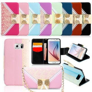 Gearonic Lace Leather Wallet Phone Case for Samsung Galaxy S6
