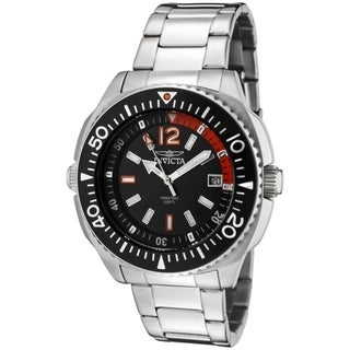 Invicta Men's Swiss Specialty Black Dial Stainless Steel Rotating Inner Bezel Date Watch