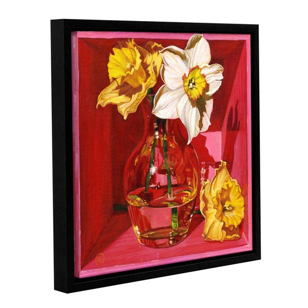 ArtWall Paige Wallis 'Narcissus In Pink' Gallery-wrapped Floater-framed Canvas