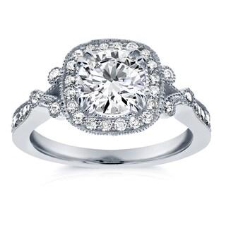 Annello 14k White Gold 1 2/5ct TDW Diamond Antique Milgrain Edge Engagement Ring (H-I, I1-I2)
