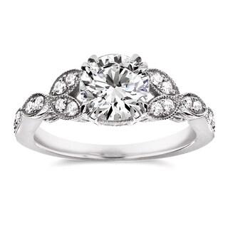 Annello 14k White Gold 1 1/5ct TDW Diamond Floral Antique Engagement Ring (H-I, I1-I2)