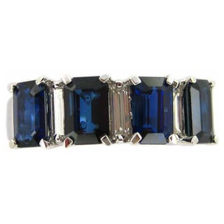 Kabella 18k White Gold Sapphire and 1/3ct TDW Diamond Band (G-H, SI1-SI2) (Size 6.75)