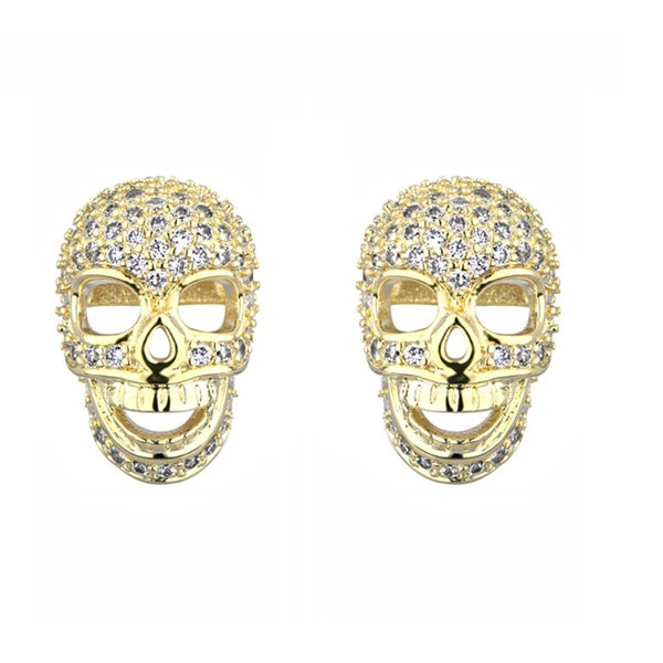 Pave CZ Skull Stud Earrings