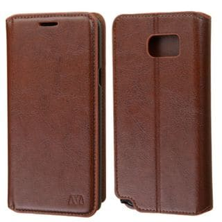 Insten Brown Leather Phone Case Cover with Stand/ Wallet Flap Pouch/ Photo Display For Samsung Galaxy Note 5