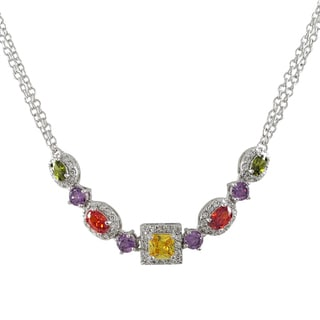 Sterling Silver Rhodium or Gold Finish Cubic Zirconia Statement Necklace
