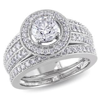 Miadora Signature Collection 14k White Gold 1 1/2ct TDW Diamond Bridal Ring Set (G-H,I1-I2)