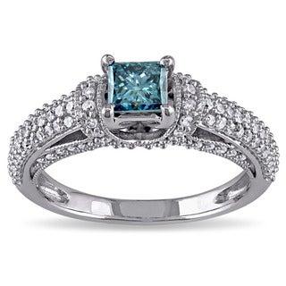 Miadora 14k White Gold 1ct TDW Blue Princess Cut Diamond Ring (G-H,I1-I2)