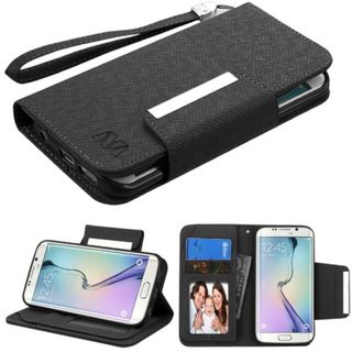 Insten Black Leather Phone Case Cover Lanyard with Stand/ Wallet Flap Pouch/ Photo Display For Samsung Galaxy S6 Edge