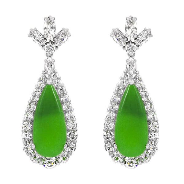 Green Stone Pear Drop Earrings
