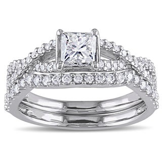 Miadora 14k White Gold 1 1/5ct TDW Diamond Bridal Ring Set (G-H,I1-I2)