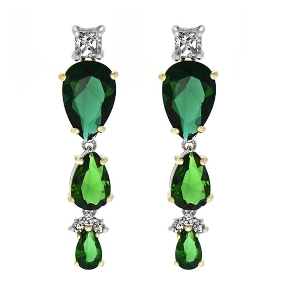 Two Tone Pear Drop Simulated Emerald Earrings