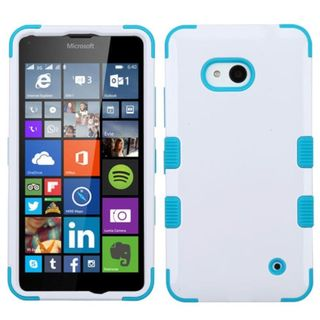 Insten White/ Blue Tuff Hard PC/ Silicone Dual Layer Hybrid Phone Case Cover For Microsoft Lumia 640(Metro PCS)/ 640(T-mobile)