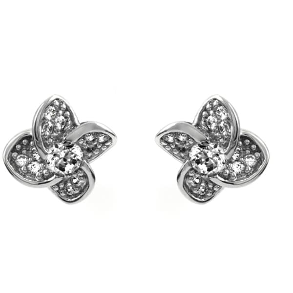 Flower CZ Stud Earrings