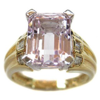 Kabella 18k Yellow Gold Kunzite 1/6ct TDW Diamond Cocktail Ring (H, SI2) (Size 6.75)