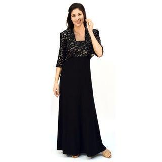 R&M Richards Sequin Lace Long Jacket Dress