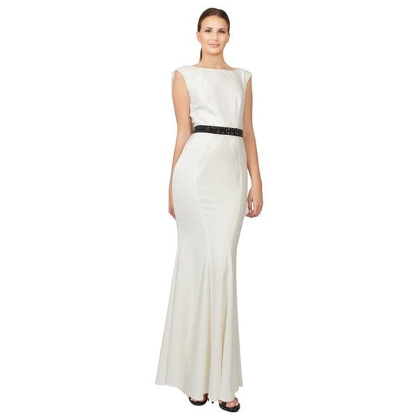 Zac Posen Ivory Sleeveless Cowl Back Beaded Waist Evening Gown Dress