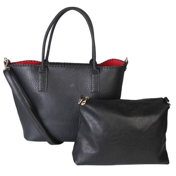 Diophy PU Leather Solid Color Bag in Bag Design Double Handle Tote with Adjustable Shoulder Strap Handbag