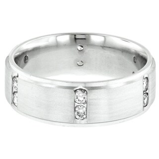 14k White Gold Men's Channel-set 1/2ct TDW Diamond Wedding Band (H-I, I1-I2)