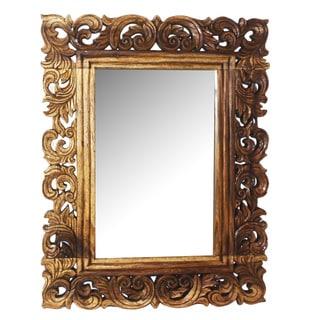 Acacia Brown Walnut Vine and Leaf Rectangular Mirror (Thailand)