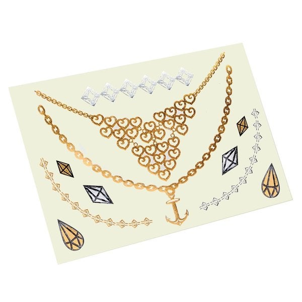 Zodaca Summer Gold Metallic Temporary Jewelry Tattoo Sticker Body Art Set