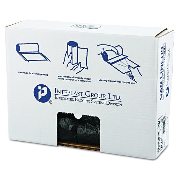 Inteplast Group Black 16gal 24 x 33 High-Density Can Liners (20 Rolls of 50 Liners)