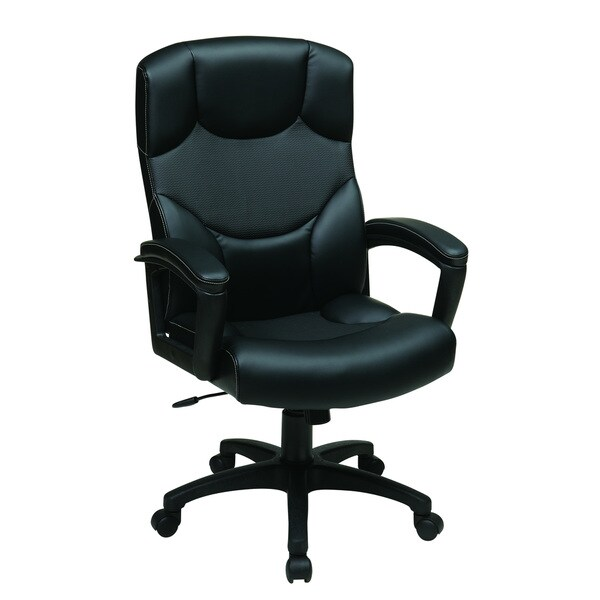 Executive High Back Bonded Leather Chair with Perforated Accented Back and Padded Loop Arms