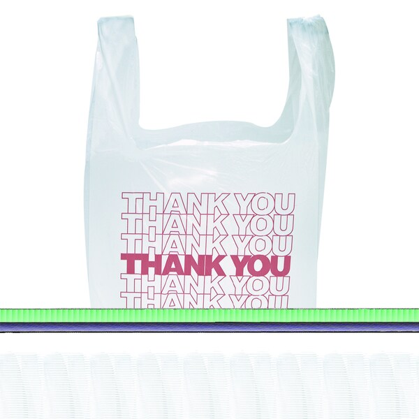 "Inteplast Group White ""Thank You"" Handled T-Shirt Bags (Pack of 900)"