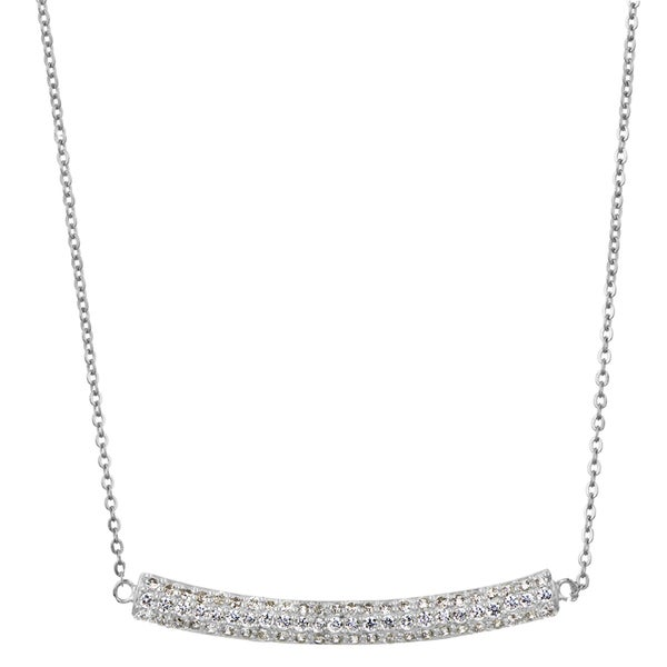 Silver Triple Row Curved Pave CZ Necklace