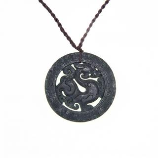Handmade Round Dark Green Jade Dragon Necklace (China)