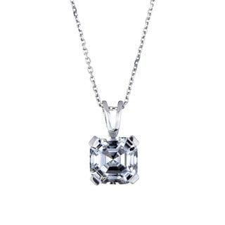 Sterling Silver Asscher Cut CZ Solitaire Necklace