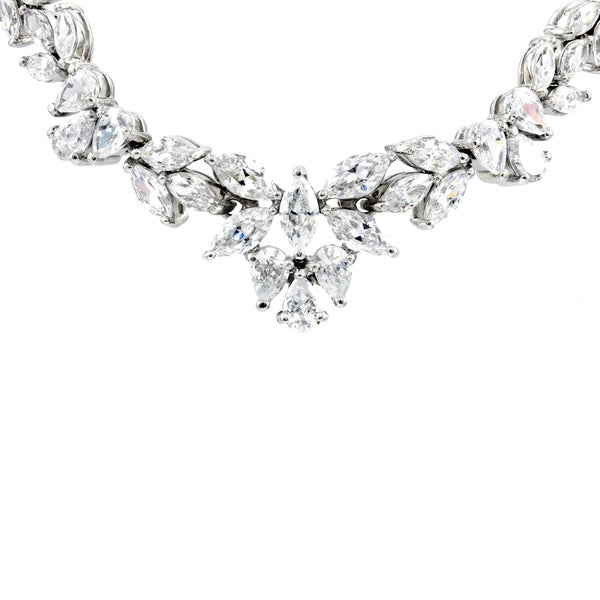 Sterling Silver Fancy Wreath Cubic Zirconia Necklace
