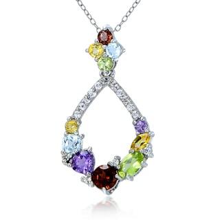 Glitzy Rocks Sterling Silver Multi Color Gemstones Teardrop Cluster Necklace