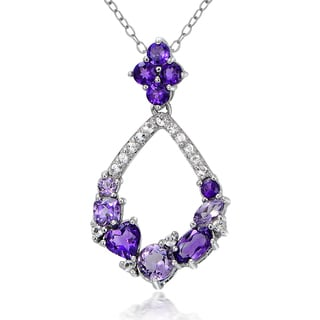 Glitzy Rocks Sterling Silver African Amethyst and White Topaz Teardrop Cluster Necklace