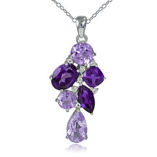 Glitzy Rocks Sterling Silver African Amethyst and White Topaz Cluster Drop Necklace