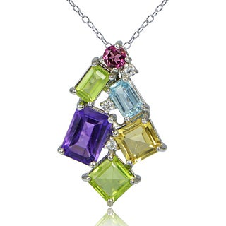 Glitzy Rocks Sterling Silver Muli Color Gemstones Octagon Cluster Necklace